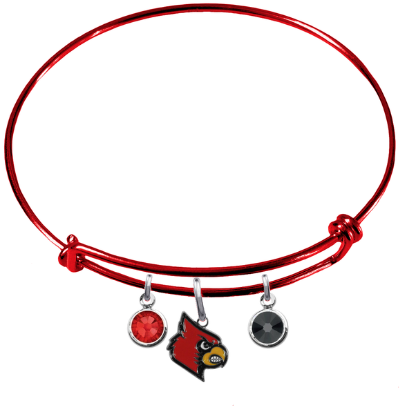 Louisville Cardinals NCAA Red Expandable Wire Bangle Charm Bracelet