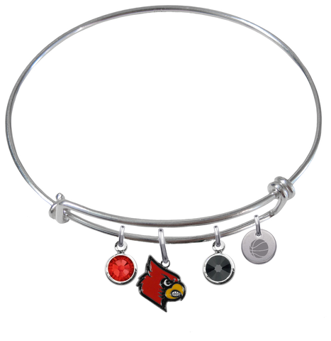 Louisville Cardinals Basketball Expandable Wire Bangle Charm Bracelet