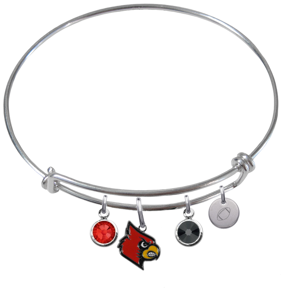 Louisville Cardinals Football Expandable Wire Bangle Charm Bracelet