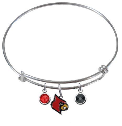 Louisville Cardinals NCAA Expandable Wire Bangle Charm Bracelet
