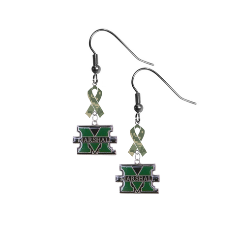 Marshall Thundering Herd Salute to Service Camouflage Camo Ribbon Dangle Earrings