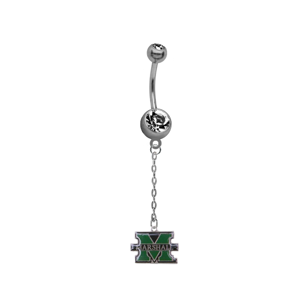 Marshall Thundering Herd Dangle Chain Belly Button Navel Ring - SportsJewelryProShop