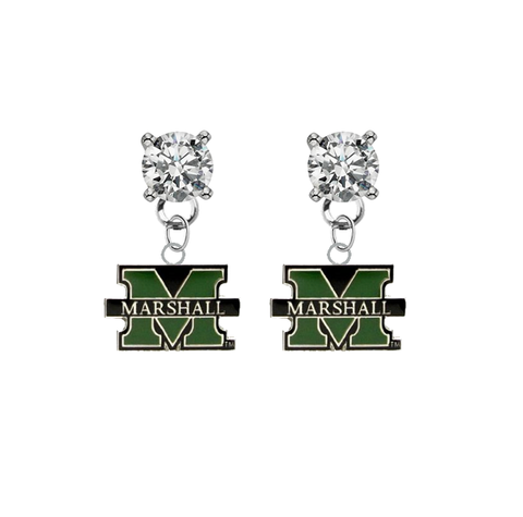 Marshall Thundering Herd CLEAR Swarovski Crystal Stud Rhinestone Earrings