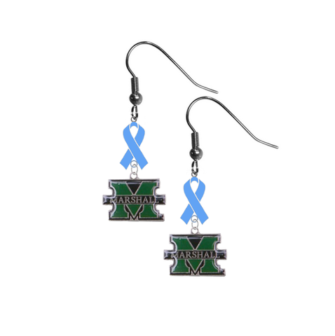 Marshall Thundering Herd Prostate Cancer Awareness Light Blue Ribbon Dangle Earrings