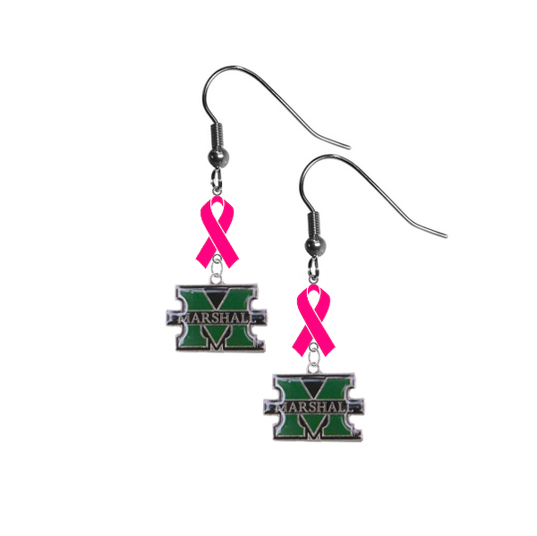 Marshall Thundering Herd Breast Cancer Awareness Hot Pink Ribbon Dangle Earrings