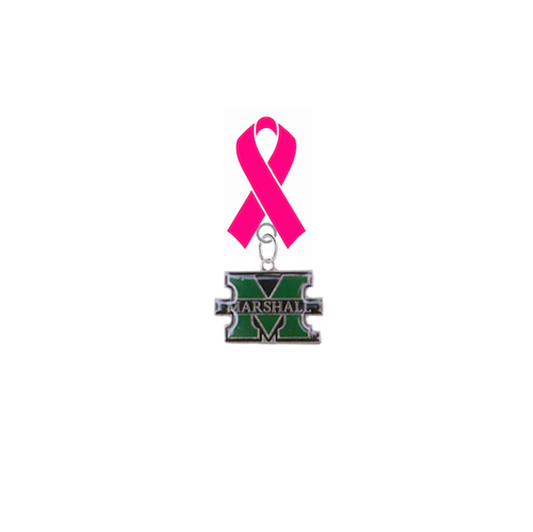 Marshall Thundering Herd Breast Cancer Awareness / Mothers Day Pink Ribbon Lapel Pin