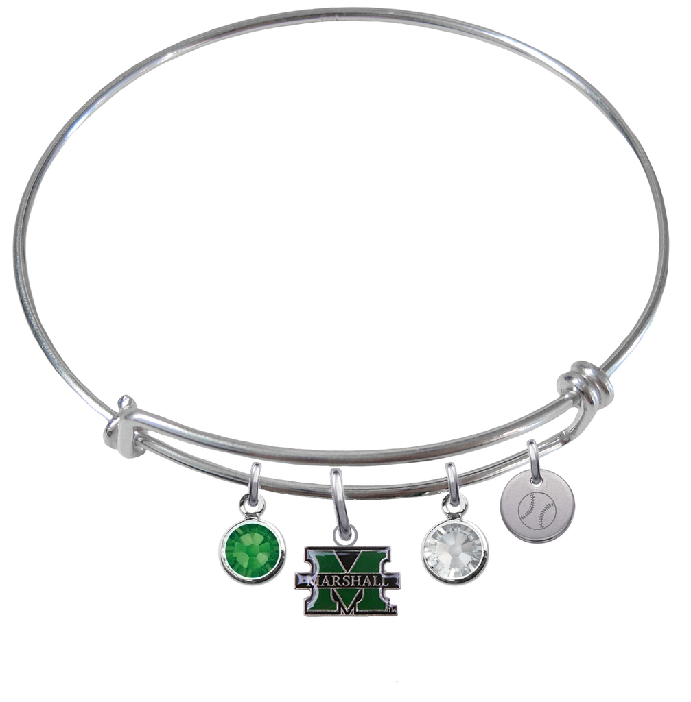 Marshall Thundering Herd Baseball Expandable Wire Bangle Charm Bracelet