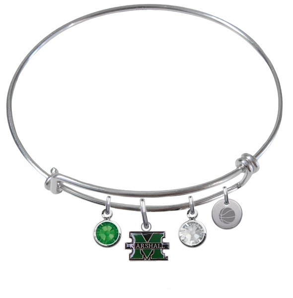 Marshall Thundering Herd Basketball Expandable Wire Bangle Charm Bracelet