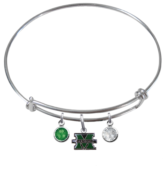 Marshall Thundering Herd NCAA Expandable Wire Bangle Charm Bracelet
