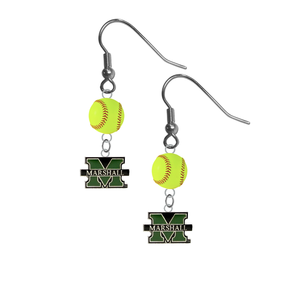 Marshall Thundering Herd NCAA Fastpitch Softball Dangle Earrings