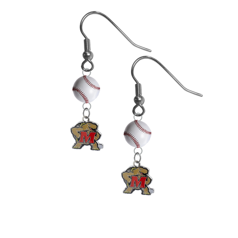 Maryland Terrapins NCAA Baseball Dangle Earrings