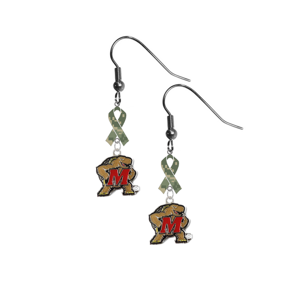 Maryland Terrapins Salute to Service Camouflage Camo Ribbon Dangle Earrings