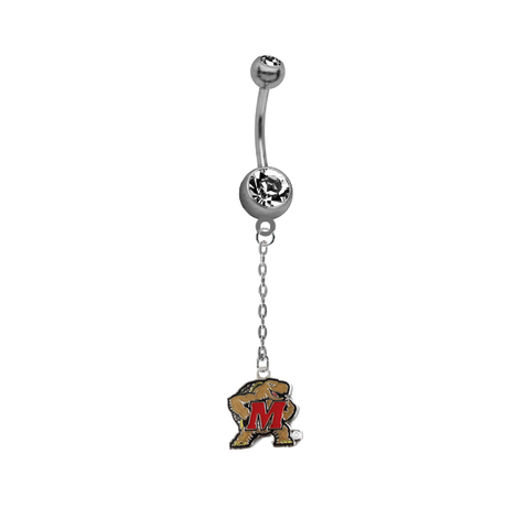 Maryland Terrapins Dangle Chain Belly Button Navel Ring