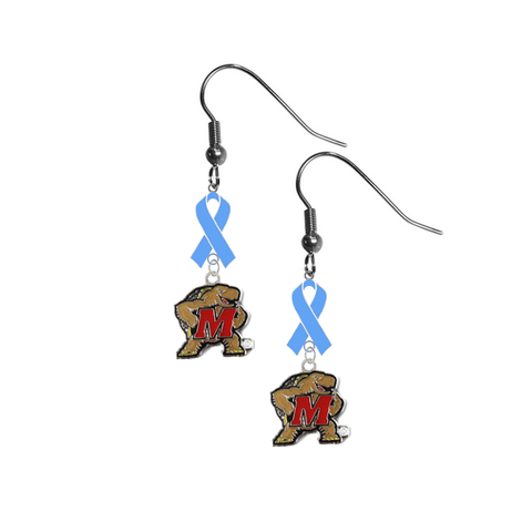 Maryland Terrapins Prostate Cancer Awareness Light Blue Ribbon Dangle Earrings