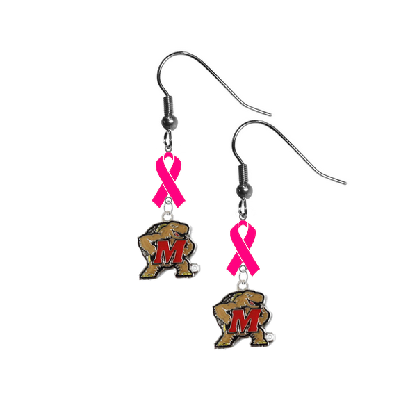 Maryland Terrapins Breast Cancer Awareness Hot Pink Ribbon Dangle Earrings
