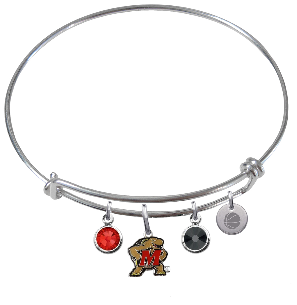 Maryland Terrapins Basketball Expandable Wire Bangle Charm Bracelet