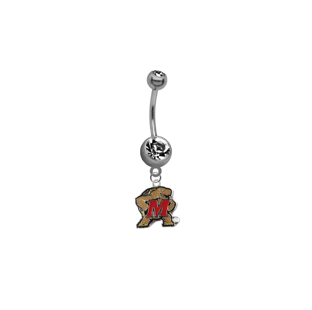 Maryland Terrapins SILVER College Belly Button Navel Ring