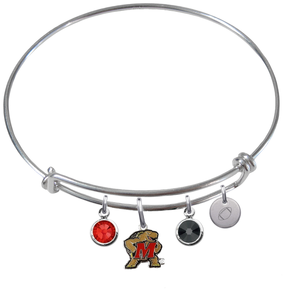 Maryland Terrapins Football Expandable Wire Bangle Charm Bracelet