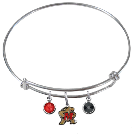 Maryland Terrapins NCAA Expandable Wire Bangle Charm Bracelet