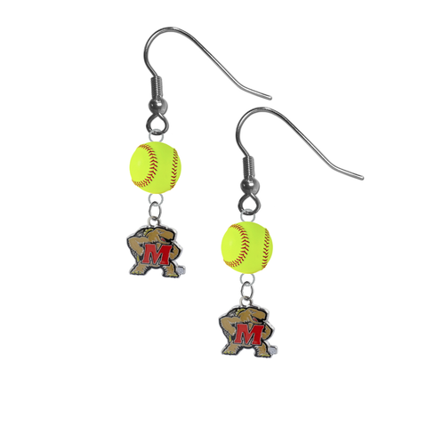 Maryland Terrapins NCAA Fastpitch Softball Dangle Earrings