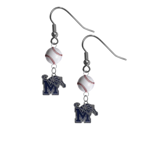 Memphis Tigers NCAA Baseball Dangle Earrings