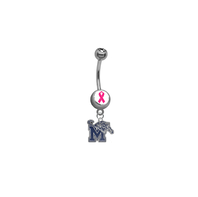 Memphis Tigers Breast Cancer Awareness Belly Button Navel Ring