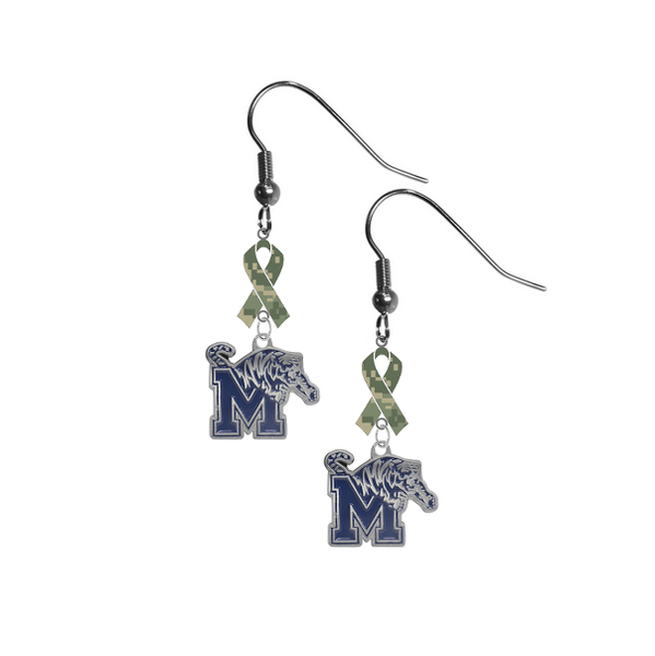 Memphis Tigers Salute to Service Camouflage Camo Ribbon Dangle Earrings