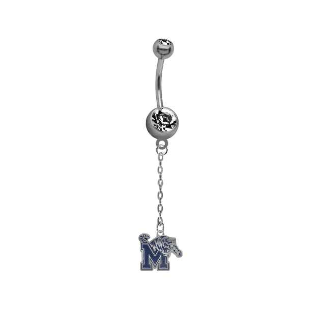 Memphis Tigers Dangle Chain Belly Button Navel Ring