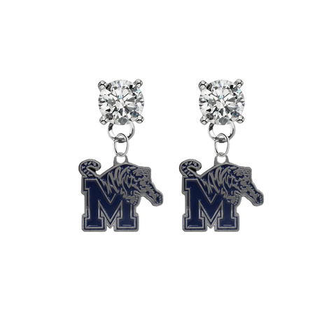 Memphis Tigers CLEAR Swarovski Crystal Stud Rhinestone Earrings