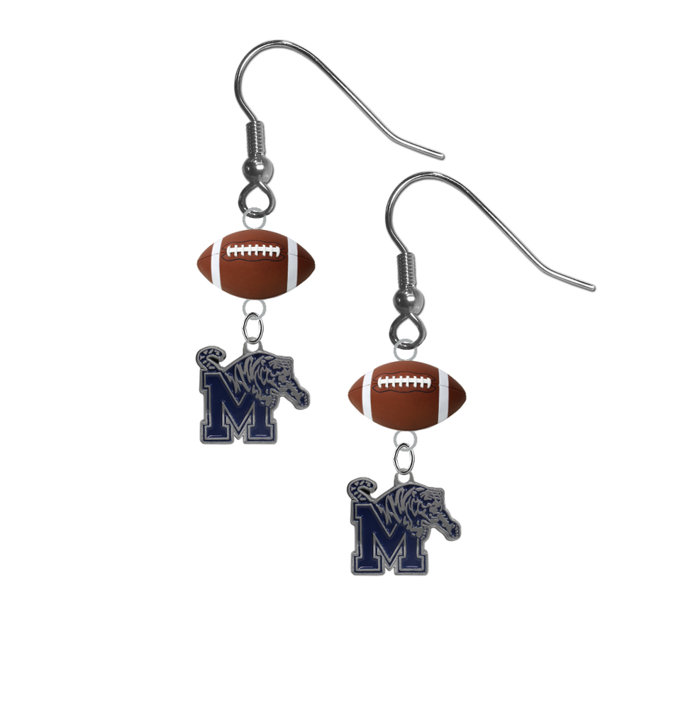 Memphis Tigers NCAA Football Dangle Earrings