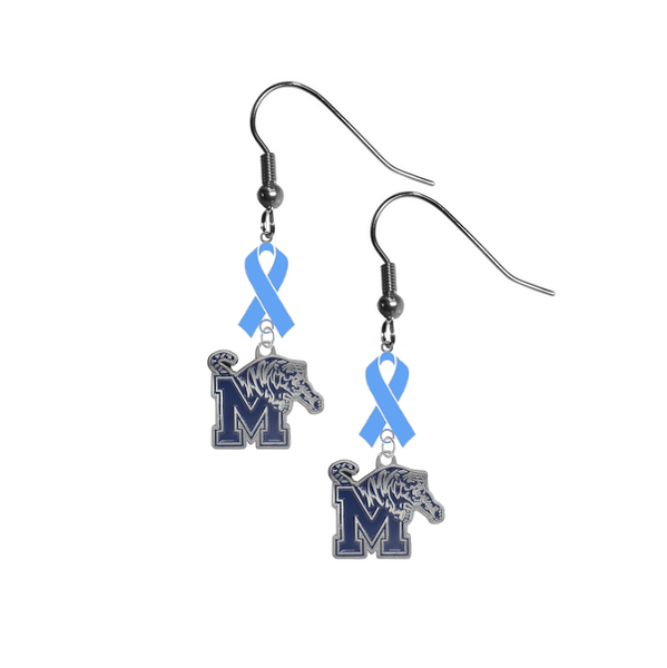 Memphis Tigers Prostate Cancer Awareness Light Blue Ribbon Dangle Earrings
