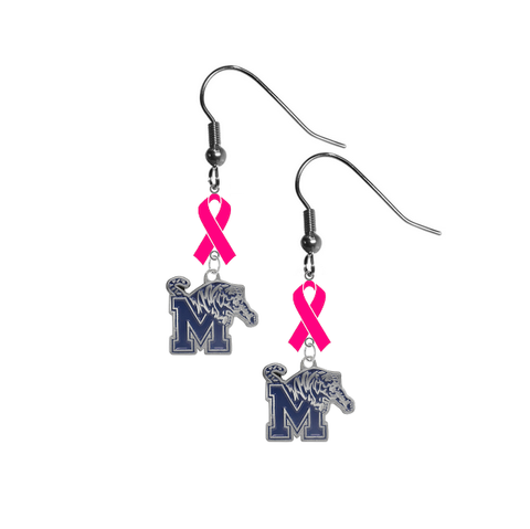 Memphis Tigers Breast Cancer Awareness Hot Pink Ribbon Dangle Earrings