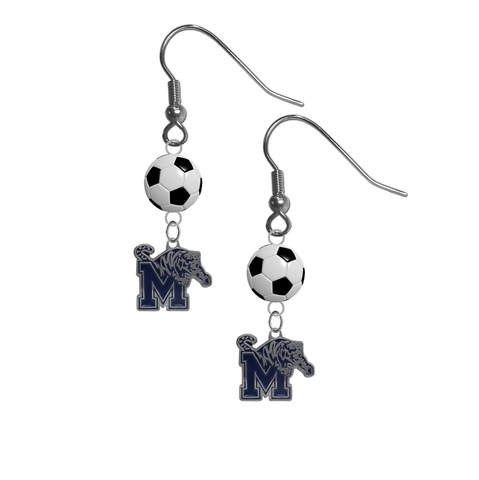 Memphis Tigers NCAA Soccer Dangle Earrings
