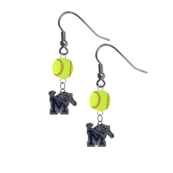 Memphis Tigers NCAA Fastpitch Softball Dangle Earrings