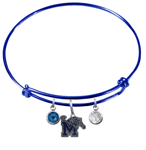 Memphis Tigers BLUE Expandable Wire Bangle Charm Bracelet