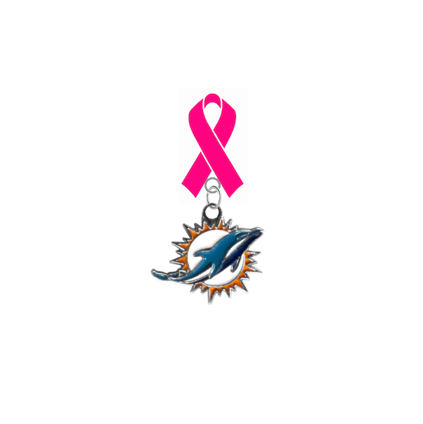 Miami Dolphins NFL Breast Cancer Awareness / Mothers Day Pink Ribbon Lapel Pin