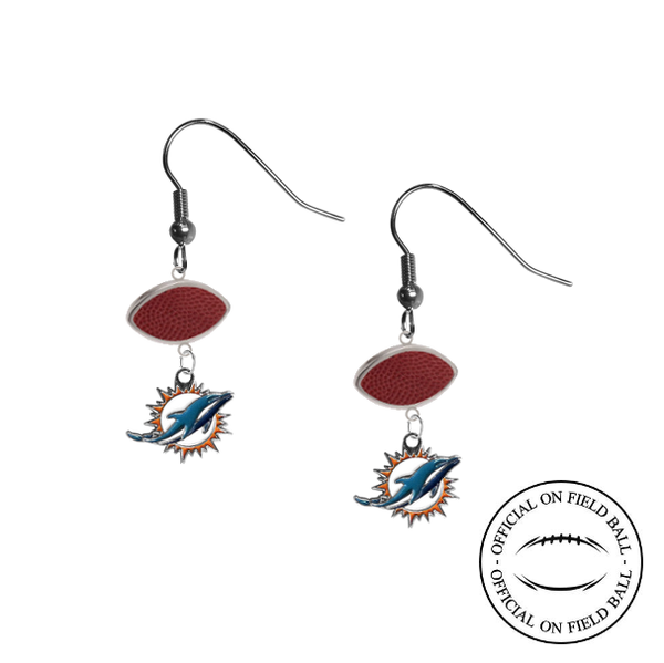 Miami Dolphins NFL Authentic Official On Field Leather Football Dangle Earrings