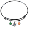 Miami Dolphins Black NFL Expandable Wire Bangle Charm Bracelet