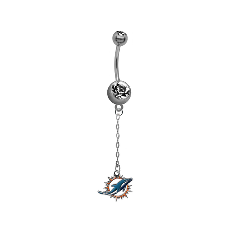 Miami Dolphins Chain NFL Football Belly Button Navel Ring