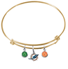 Miami Dolphins Gold NFL Expandable Wire Bangle Charm Bracelet