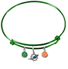 Miami Dolphins Green NFL Expandable Wire Bangle Charm Bracelet