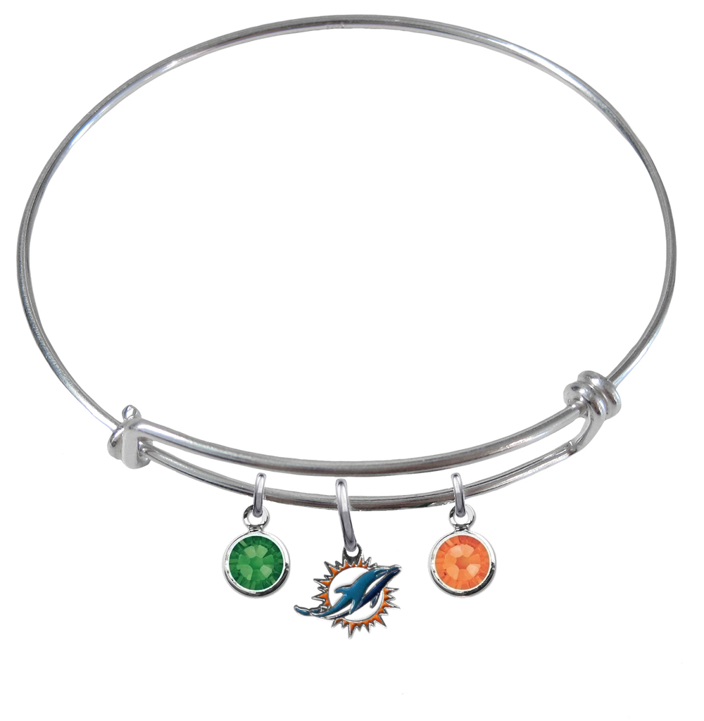 Miami Dolphins NFL Expandable Wire Bangle Charm Bracelet