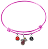 Miami Heat PINK Color Edition Expandable Wire Bangle Charm Bracelet