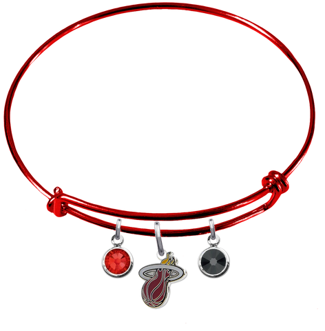 Miami Heat RED Color Edition Expandable Wire Bangle Charm Bracelet
