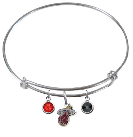 Miami Heat NBA Expandable Wire Bangle Charm Bracelet
