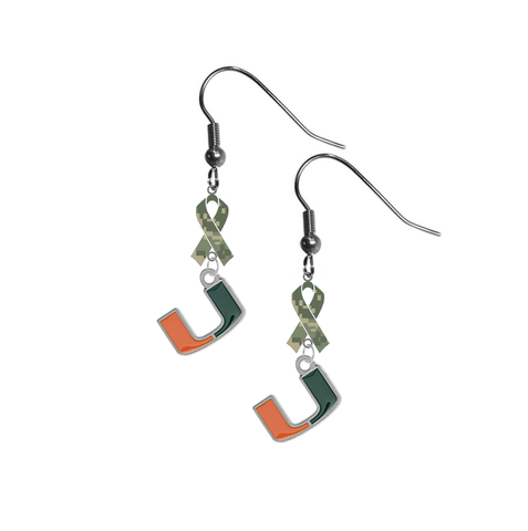 Miami Hurricanes Salute to Service Camouflage Camo Ribbon Dangle Earrings