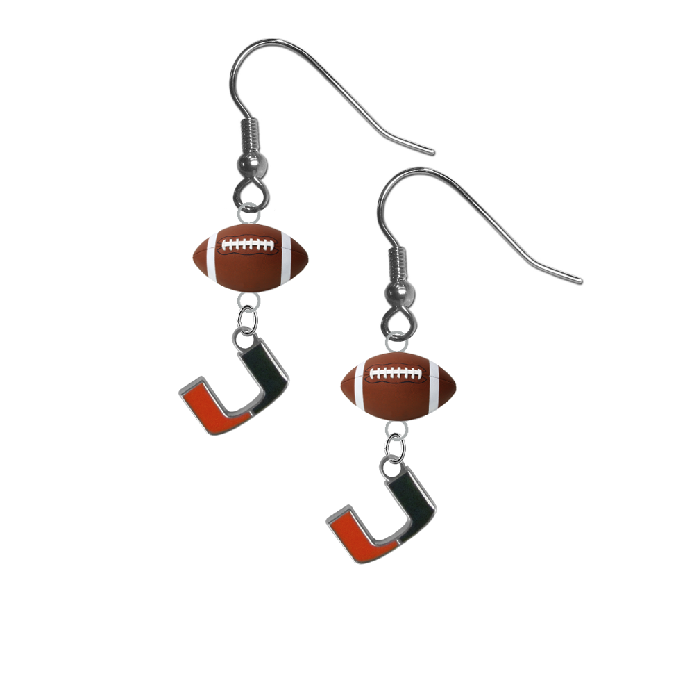 Miami Hurricanes NCAA Football Dangle Earrings