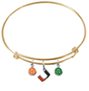 Miami Hurricanes GOLD Expandable Wire Bangle Charm Bracelet