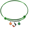 Miami Hurricanes GREEN Expandable Wire Bangle Charm Bracelet