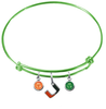 Miami Hurricanes LIME GREEN Expandable Wire Bangle Charm Bracelet